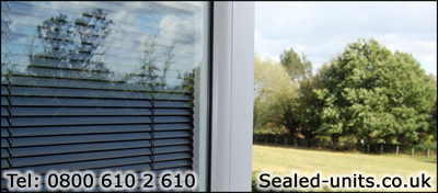 Between Glass Blinds installed in a door at Hopwas